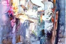 Streets, coffee houses, terraces in art :) / ulice, kavárničky, letní zahrádky na obrazech :)