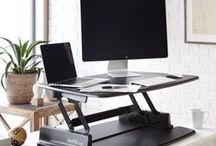 Pro Standing Desk Series / The Pro Series is our original VARIDESK design. The single flat display surface has plenty of space for monitors, documents and other accessories, plus room for your keyboard and mouse when raised into standing mode.