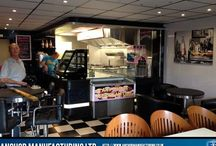 Sheffields American Diner / In this example, Anchor Manufacturing LTD fabricate and install a kitchen extract canopy with a fresh air input. In addition we fabricated the stainless steel work surfaces, breakfast bar, stainless table bases and doughnut machine. The American Diner is located at Sheffield Lane Top in Sheffield and offers an authentic American diner experience.