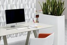 OFFiCE DESKS / Some cool examples of the simple virtues of the white desk (with a splash of colour).