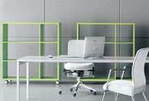 OFFiCE STORAGE / Clean and minimal white storage solutions for designer office spaces.