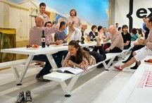 CANTEEN TABLES / Suggestions for stylish workplace canteens using long table dining.