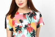 Tropical forest / Think Hawaii, think palm tress! Best for holiday season, and summer! They spell prints, big prints and a medley of colors. Worn by celebrities to runway, tropical prints are a big YES to style! Dress in these prints from head to toe or pair them with whites they are always stunning. Don't mandate them to beachwear, add them in fruity accessories, printed headgear or bomber jacket.They are the new ground breaking florals this season ♥