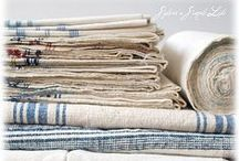 F R E N C H - L I N E N S / - LOVELY - ANTIQUE - ROMANTIC - HOUSEHOLD - LINEN - FRENCH - COTTON - BLUE - VINTAGE -