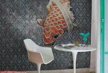 Tapeten von Wall & Deco / Stylische Tapeten auch für ein fugenloses Bad. Zu beziehen über www.farbefreudeleben.de