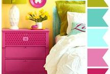 Bedroom Ideas / Bold colours with white base etc.