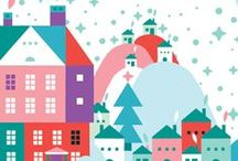 Illustration - Christmas / A Christmas inspired inspiration board for surface pattern design and illustration.