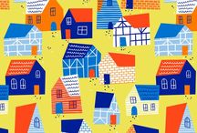 Illustration - Houses / Town and village inspired inspiration board for illustration and surface print design.
