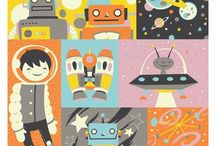 Illustration - Space / A space themed surface pattern and illustration inspiration board.