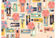 Illustration - Summer Holidays / A summer holiday inspired inspiration board for surface pattern design and illustration