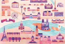 Illustration - Maps / A maps inspiration board for illustration and surface pattern design
