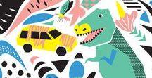 Illustration - Dinosaurs / Dinosaur illustrations and pattern design