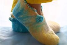 Handmade felted slippers by Philosopher's Joke. / Handmade felt wool slippers.