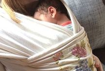 Carry Me Softly / Natures Sway Baby Carry Wrap in organic cotton knit with custom patterned pocket.