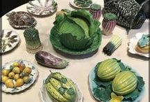 Magical Majolica / Majolica is brightly colored glazed earthenware pottery that is usually in a naturalistic shape.  Vintage Grace loves vintage majolica kitchenware, especially when shaped like fruits and vegetables.
