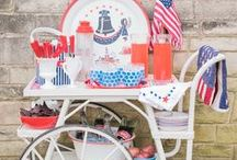 4th of July Entertaining / Combining vintage kitchenware pieces in red, white and blue is a great way to show your national pride at your Independence Day celebrations.  Whether you are spending the day at the beach, having a small gathering on the patio, enjoying a late picnic under the fireworks, or hosting friends with an all-American barbecue, you can entertain with red, white and blue vintage style.  Find that style at ShopVintageGrace.com.   Enjoy your 4th of July party!
