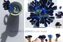 #blaueblumen ink buds / Blue ink bud flowers for  MOOC Design 101 Exhibition