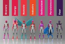 The Courage Crew / COURAGE is IAmElemental's first series of female action figures (designed with kids in mind!). Each figure represents an element of Courage: Bravery, Energy, Honesty, Industry, Enthusiasm, Persistence and Fear. Shared, everyone's powers grow stronger.™