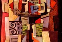 Cubism - Synthetic, Post Cubism and its Variations / The 1st abstract art, Cubism, was an avante-garde movement pioneered by Braque &  Picasso starting in 1907, joined by Metzinger, Gleizes, Delaunay, Le Fauconnier, Léger, Laurences,  Marcoussis  & Gris. Analytic Cubist, separate board, painting abandoned perspective drawing & displayed many views of a subject at one time.  Offshoots include Synthetic Cubism, Collage, Facet/Cezanne Cubism, Orphism, Purism, Cubo Futurism in Russia. Cubism influenced many other movements and artists, even today.