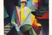 Bauhaus, Bauhaus Trained, &  Bauhaus Influenced Artists  / A German school of art & architecture (1920-30's) which revolutionized art training by combining pure arts & crafts. Headed by Gropius with Klee (own Board), Feininger, Kandinsky, Moholy-Nagy, Itten, Oskar Schlemmer, Mies Van der Rohe, Albers, Gunta Stölzl. It was committed to Le Corbusier's philosophies & was the principal center in the West for the confluence of Constructivist & De Stijl influences. It was closed in 1933 due to Nazi pressure. The New Bauhaus was established in Chicago in 1937.