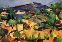 Post Impressionists: Cézanne / Paul Cézanne was a French Post-Impressionist painter whose work laid the foundations of the transition from the 19th C conception of artistic endeavour to a new & radically different world of art in the 20th C. Though he considered the study of nature essential to painting, he opposed many aspects of the Impressionist aesthetic.  Believing color & form to be inseparable, he tried to emphasize structure & solidity in his work, features he thought neglected by Impressionism.