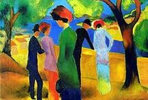 August Macke & the Rhenish Expressionists / Macke, an early member of the Blue Rider, founded Rhenish Expressionism, centered in Bonn, which depended more on color than on spirituality. His meeting with Robert Delaunay in 1912 was a revelation for him & influenced his art from that point onwards. His Shops Windows can be considered a personal interpretation of Delaunay's Windows.  His use of color was special in its capacity for expressing the abundance of life. Macke died at the age of 27. Campendonk often exhibited with him.