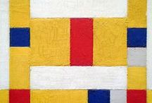 Mondrian, De Stijl (1917-31) & Later NeoPlasticism / Consists of a group of artists & influential avant-garde magazine, founded in the Netherlands during WW1 by van Doesburg, Mondrian, Rietveld, & Van der Leck. It advocated a geometrical abstract art, based on universal laws of harmony & universality by a reduction to the essentials of form & color. They simplified visual compositions to the vertical & horizontal directions, & used only primary colors along with black and white (with some exceptions).
