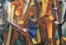 Russian Futurism, Cubo-Futurism, and Orpho-Cubism  / Cubo-Futurism developed in Russia around 1910. It was essentially a synthetic style, combining French Cubism, Orphism of the Delauney's, Italian Futurism, and Neo-primitivism. Kazimir Malevich developed the style & later abandoned it. Included Alexander Archipenko, Wladimir Baranoff-Rossine, Alexander Bogomazov, Wladimir Burliuk, Aleksandra Ekster, Natalia Goncharova, Ivan Kliun, Mikhail Larionov, Lyubov Popova, Olga Rozanova, Sonia Terk Delauney.