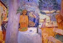 Les Nabis - Pierre Bonnard, Master of Color (1867-1947)  / Bonnard was a founding member of  Les Nabis and essentially a colorist who uses the effect of light & color to help establish mood. He admitted that he could only paint the familiar- the rituals of daily life. The act of painting was an investigation of the physical substance of paint, the visual rhymes echoing throughout the canvas, the dialogue of color notes. These formal considerations set him apart from his contemporaries. He was very influenced by Gauguin & Japanese art.
