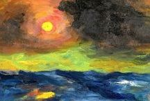 """German Expressionism: Emil Nolde / Emil Nolde (1867-1956), born Hansen, added a mystical dimension to German Expressionism, and his career illustrated the moral dilemmas of German Modernists of the 1st generation, since his instincts were nationalist (anti-sementic) even though his art was regarded as experimental. He was a member of """"Die Brucke"""" for 1 year. He is considered one of the great oil painting and watercolor painters of the 20th C, known for his vigorous brushwork & expressive choice of colors."""