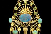 Art Nouveau Jewelry - France, Belgium, Switzerland, and others. / Art Nouveau: the style of decoration current in the 1890s and early 1900s. A reaction to academic art of the 19th century, it was inspired by natural forms and structures, not only in flowers and plants but also in curved lines. Among its leading exponents in France were Rene Lalique (separate board), Maison Vever, George Fouquet and Lucien Gaillard; in Belgium Philippe Wolfer.