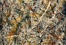 Abstract Expressionism: Jackson Pollock Who Turned the Modern Art World Upside Down / Jackson Pollock (1912-1956) studied under Thomas Hart Benton before leaving traditional techniques to explore abstraction via his splatter and action pieces. Pollock was both renowned and critiqued for his conventions. Regarded as reclusive, he had a volatile personality, and struggled with alcoholism for most of his life. In 1945, he married the artist Lee Krasner, who became an important influence on his career and on his legacy.