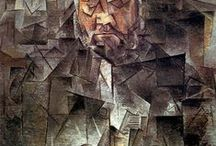 Cubism - Analytic, the First Cubism / Analytic Cubism was developed by Picasso & Braque in1909-10. It lasted until 1912. With Juan Gris, they invented specific shapes & details that would represent the whole object & frequently combined motifs with letters, still lifes with musical instruments, bottles, pitchers, glasses, newspapers, playing cards, and the human face & figure. Mainly series of overlapping planes & facets mostly in monochromatic browns, grays, or blacks.