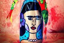 Rafa Que Faz - Garrafas Pintadas à Mão / Garrafas reaproveitadas pintadas à mão - Rafa Que Faz