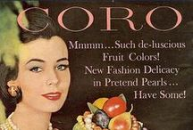 """Coro / CO·RO [\ˈkȯr-(ˌ)ō\] - pronoun - Coro, not officially incorporated as Coro, Inc. until 1943, came into existence in 1901. Businessmen Emanual Cohn and Carl Rosenberger founded Coro as an accessories boutique in New York City that covered nearly all fashionable styles from patriotic motifs to floral and foliate. """"I am so jealous of her Coro brooch."""""""