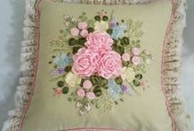Embroidered Cushions / Cushion covers, ribbon embroidery