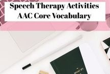 Speech Therapy activities, AAC Core Vocabulary activities TPT / Speech therapy materials and activities that are in my Teachers Pay Teachers store. Including Core Vocabulary boards and activities. Many are geared to special education, Autism classroom and low tech AAC.