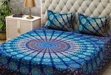 Indian Ethnic Home Decor / Some people look for a beautiful place while others make a place beautiful . Add an ethnic feel to your bedroom  with these gorgeous mandala bedspreads , mandala duvet covers , mandala floor cushions , mandala curtains . A Must have for any season  !!  These mandala bedspreads not only brighten up the room but the pure colors bring positivity throughout the house .
