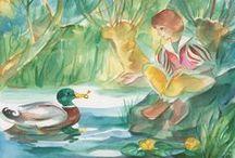 Marie Laure Viriot / La magicienne de l'aquarelle, nous fait voyager dans ses tableaux tout en transparence, foisonnant de petits détails dissimulés dans une nature luxuriante : une petite souris, une mûre des bois par ci, une fée ou un lutin par là. On entre dans ses tableaux comme dans un rêve, on y voyage tout éveillé, on en ressort émerveillé. Elle sait mieux que personne, peindre les animaux et leur donner vie dans un seul regard.