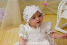 Girls Silk Christening Gowns / Beautiful silk christening gown for girls with matching bonnet. Pearl button and tie closure. http://www.christeningapparel.com/christening-gowns/baptism-dresses/meghan-silk-christening-gowns.html