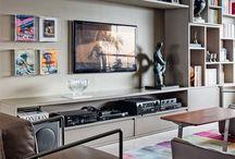 Rack sala / Rack para Home theater me salas de apartamentos. Contemporary Living room home theater furniture.