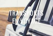 Transports en voyage / Tous les moyens sont bons, pourvus qu'ils nous emmènent découvrir le vaste monde : avion, bus, bateau, ULM, dromadaire, vélo, cheval...