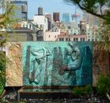 Skyline Arboretum with Fountain / Located in New York, the rooftop is subdivided by a home office space and separate residential area. The terrace conversion introduces elements that create a multifunctional green roof and arboretum. A steppable green walkway, laced with thyme, is positioned between a diverse range of perennials and provides access to both spaces. This garden features a #sculptural copper relief fountain by renowned French artist Serge Besançon.