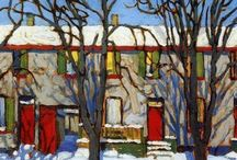 """Canadian Group of Seven / The Group of Seven, also known as the Algonquin School, was a group of Canadian landscape painters from 1920 to 1933, originally consisting of Franklin Carmichael (1890–1945), Lawren Harris (1885–1970), A. Y. Jackson (1882–1974), Frank Johnston (1888–1949), Arthur Lismer (1885–1969), J. E. H. MacDonald (1873–1932), and Frederick Varley (1881–1969). Later, A. J. Casson (1898–1992) was invited to join in 1926; Edwin Holgate (1892–1977) became a member in 1930; and LeMoine FitzGerald (1890–1956) joined in 1932.  Two artists commonly associated with the group are Tom Thomson (1877–1917) and Emily Carr (1871–1945). Although he died before its official formation, Thomson had a significant influence on the group. In his essay """"The Story of the Group of Seven"""", Harris wrote that Thomson was """"a part of the movement before we pinned a label on it""""; Thomson's paintings The West Wind and The Jack Pine are two of the group's most iconic pieces.[1] Emily Carr was also closely associated with the Group of Seven, though was never an official member."""