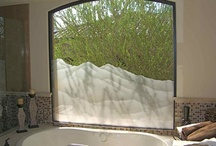 Bathroom Windows / Bathroom windows (shower and tub windows), with custom designed etched and carved sandblasted designs by Sans Soucie Art Glass of Palm Desert, California.  Glass is packed in-house and ships worldwide at reasonable price!