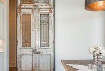 Rustic Spaces / rustic worn wood, exposed brick walls, and vintage decor