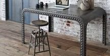 Industrial Interiors / Industrial design elements like bare lightbulbs, metal furniture and exposed beams