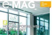 """SNCF / Journal interne / Conception, rédaction et coordination du bimestriel """"E-mag de l'Environnement de travail"""" (24 pages / 6 numéros par an)."""