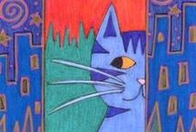 Cat art / Are you a cat lover like me? Here's some colorful 'cat' art for you !