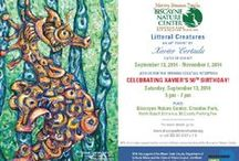 """Littoral Creatures: Opening Reception / """"Littoral Creatures"""" is an art exhibit by Xavier Cortada at the Marjory Stoneman Douglas Biscayne Nature Center, Crandon Park, Key Biscayne, FL.  It is free and open to the public.  Proceeds (30%) from sales of the art will benefit the under-served children's programming at the Center.   The exhibit's opening reception is on Saturday, September 13th, 2014 from 5 pm to 7 pm and coincides with the artist's 50th Birthday.    See http://cortada.com/50"""